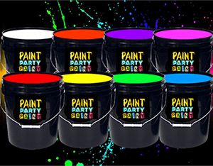 UV Paint Party Products - Yellow, Green, Orange, Pink, Blue and Blood bath Red.